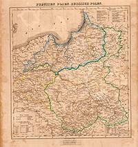 Карта Пруссии и русской Польши. 1855 г.