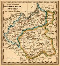 Карта Пруссии и Польши. 1853 г.