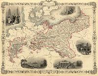 Карта Пруcсии. 1851 г.