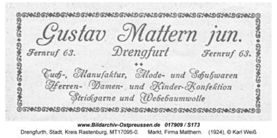 Drengfurth, Stadt, Kreis Rastenburg Marktplatz 21